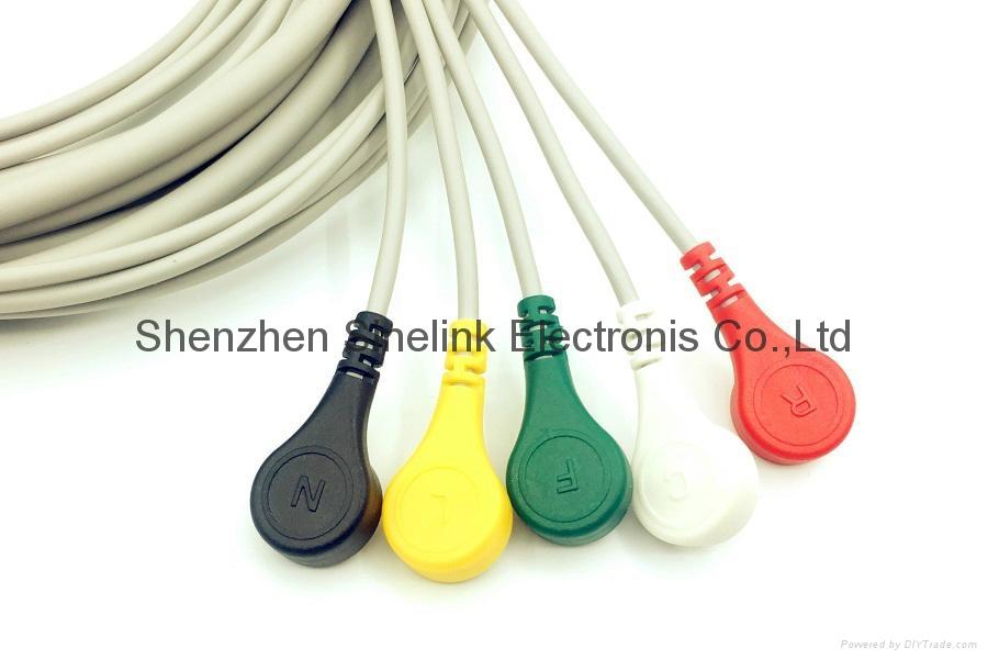 一体式5导联分线,AMP6针,按扣式电极,欧标 3