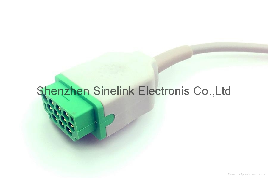 GE/马奎一体5导联线,扣式电极,欧标 2