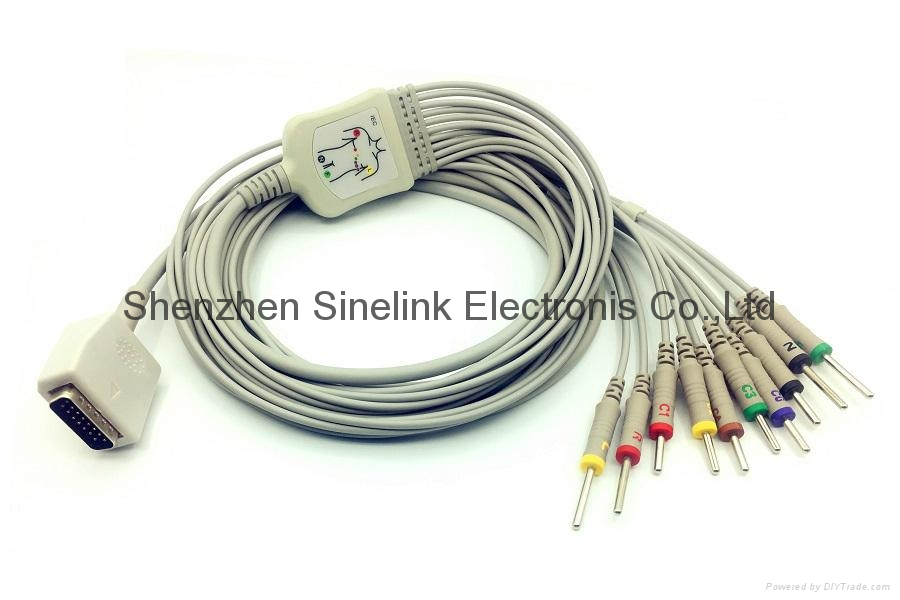 Shanghai Kohden One Piece EKG Cable with 10 Leadwires,IEC 1