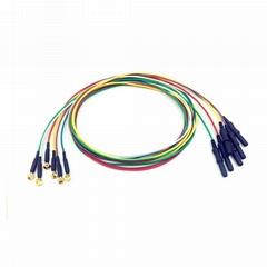 儿童用镀金脑电电极,Φ6mm电极,DIN式Φ1.5插孔, 10色线一套