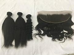 kinky straight virgin braziian human hair weft unprocessed  factory price good