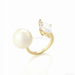 方钻珍珠戒指