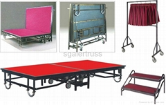 Steel Folding stage hotel stage school stage with wheels movable stage