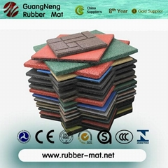 Anti-abrasion outdoor Sideway rubber tiles block rubber stones