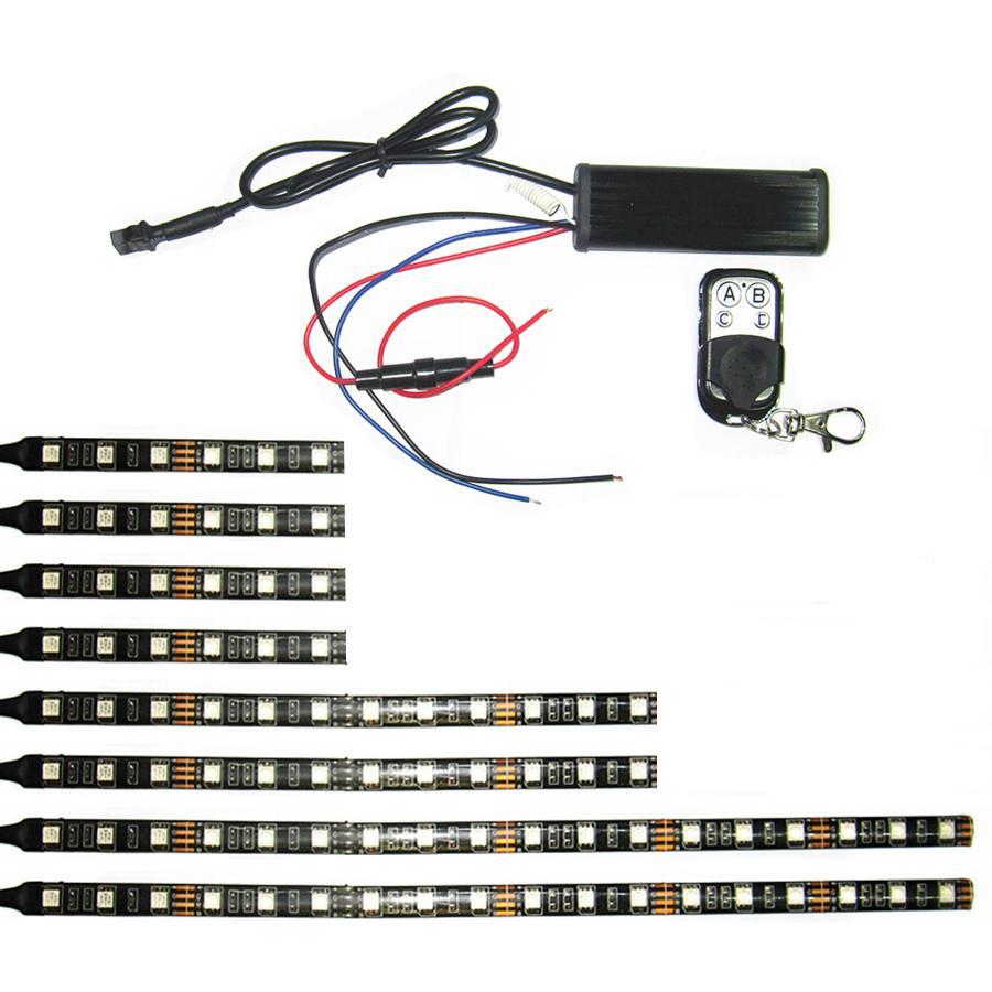 RGB Led Strip Kit With Remote Control Brake Warming For Motorcycle Lighitng 1