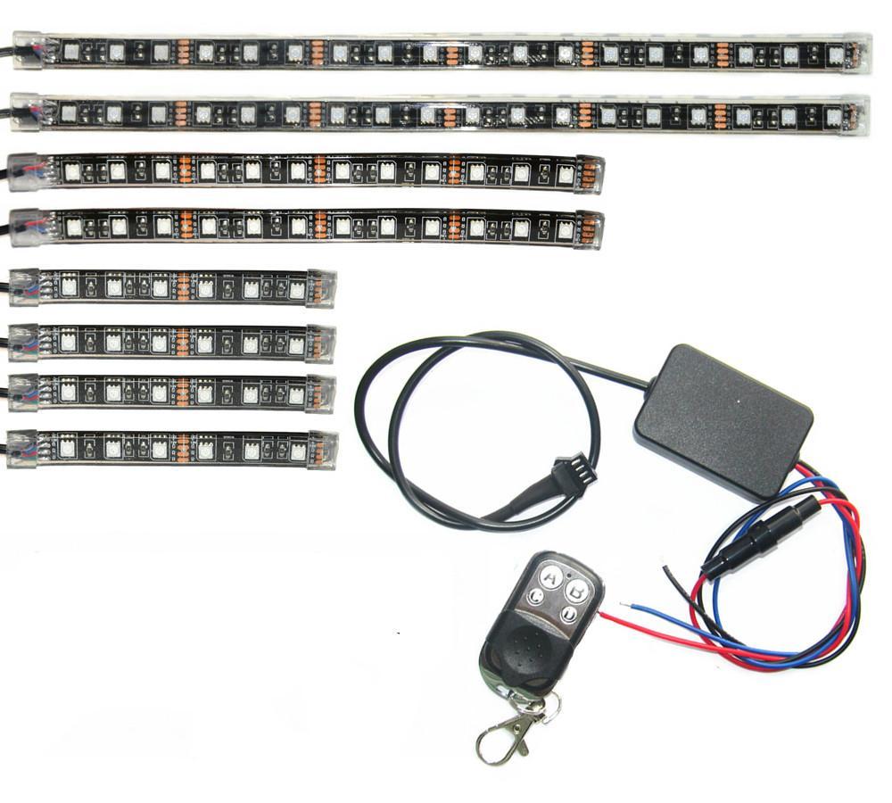 2 Remotes Sounds Active Led Strip 18 Color Change Kit For Motorcycle Led lights 1