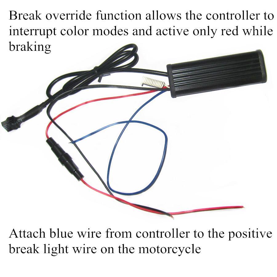 RGB Led Strip Kit With Remote Control Brake Warming For Motorcycle Lighitng 2