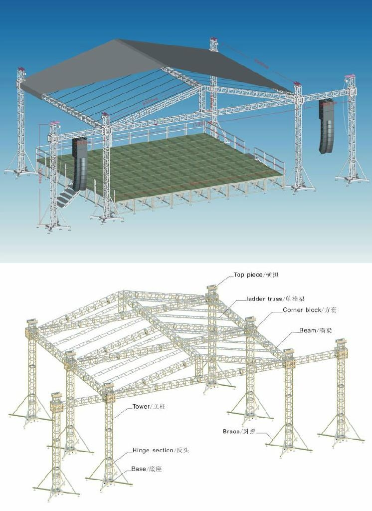 Aluminum stage truss roof trusses circle roof truss system for Truss roof system