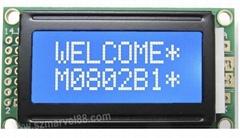 8*2字符型液晶屏模组,STN蓝色,蓝底白字,5V