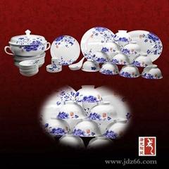 景德镇青花玲珑餐具