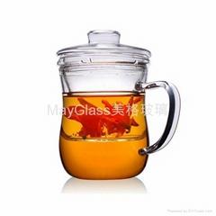 耐熱玻璃泡茶杯 花茶杯 三件式玻璃泡茶杯