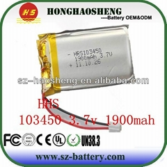 3.7v 1800mah 103450 rechargeable lithium polymer battery