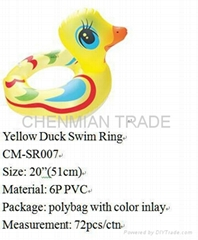 YELLOW DUCK SWIM RING