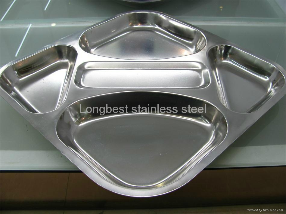 ... Stainless Steel Rectangular Divided Dinner plate 4 sections 3 ... : divided dinner plate - pezcame.com