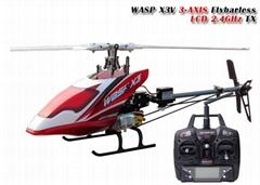 思凯利6通道无副翼3D特技直升机 wasp x3v