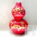 中國紅瓷描金龍葫蘆觀賞瓶