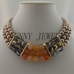 fashion pearl&agate necklace jewelry