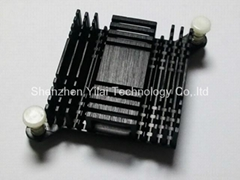 Push pin with spring in BGA heatsink