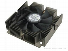 cpu fan with heatsink, black anodizing and drilling holes heatsink