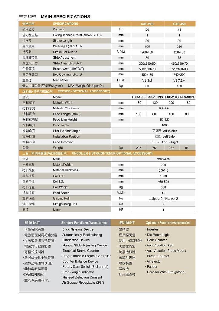 金豐高速沖床 CAF系列 3