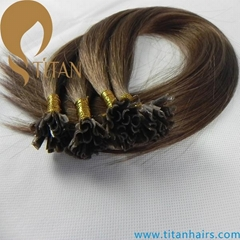 20inch hot selling Brazilian human hair brown color nail hair extension