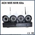 4CH 720P HD Wifi NVR KIT Wireless Bullet IP Camera System Wireless NVR Kit P2P