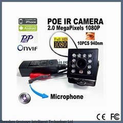 Miniature 1080P POE Mini Ip Camera 2Mp Hd Night Vision 940nm IR Audio POE Covert