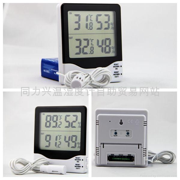 White Plastic Shell Digital Indoor Outdoor Thermometer Hygrometer  3