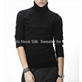 High Collar Silk Sweater for Men