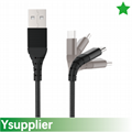 Double Braided Nylon USB Type-C to Type-A, black color,