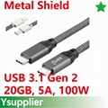 USB-C to USB-C Cable, Supports 100W of Power Delivery transfer, 20V up to 5 Amps