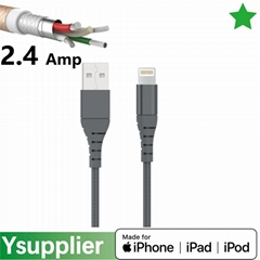 C48 3ft 6ft 9 ft Premium Double-Braided Nylon Lightning Cable