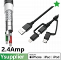 C48 Certified Multi Charger Cable USB-C,Micro USB, 8-Pin Cable for Apple Lightni