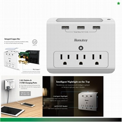 Wall Mount 3-Outlets with 3 USB (3.4A) Ports, Auto Sensor Night-Light