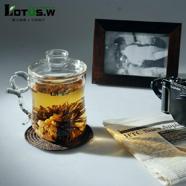 380ml Hi-borosilicate Glass Tea Cup and Pot in One for Personal Usage 2