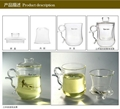 380ml Hi-borosilicate Glass Tea Cup and Pot in One for Personal Usage 5