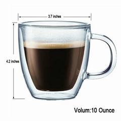 10oz Double Walled Latte Caffe glass mugs