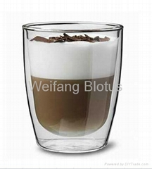 300ML Double-Walled Pyrex Cappuccino Glass Cup