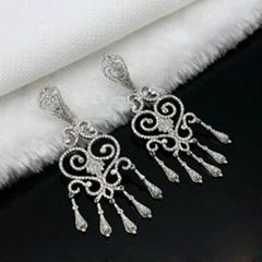 优雅时尚925银镶锆石耳环