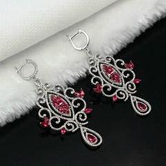波西米亚时尚925银镶锆石耳环