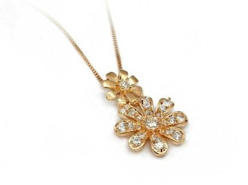 可爱花朵时尚925银镶锆石吊坠 2