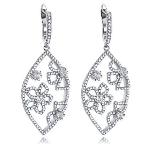波西米亚时尚925银镶锆石耳环 3