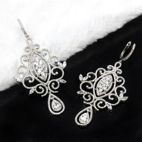 波西米亚时尚925银镶锆石耳环 5