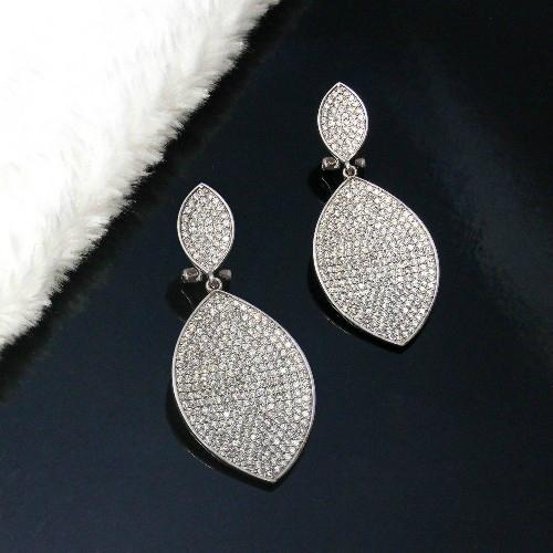 经典时尚925银镶锆石耳环 2