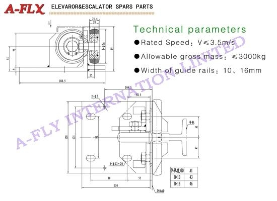 Type:GS-046,Elevator roller guide shoes