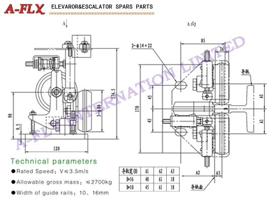 Type:GS-049,Elevator roller guide shoes