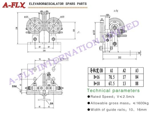 Type:GS-043,Elevator roller guide shoes