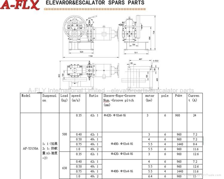 AF-YJ150A(500-630kg,0.35-1.0m/s)