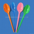 Light weight disposable plastic colorful spoons