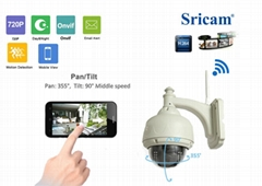 Sricam outdoor PTZ Dome network camera wireless p2p waterproof ip camera